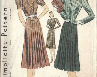 "1940s WW11 Vintage Sewing Pattern B34"" DRESS & JACKET (1731) Simplicity  3144"