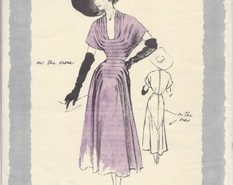 1949 Vintage VOGUE Sewing Pattern DRESS B32 (1262) By 'Paquin'  1057