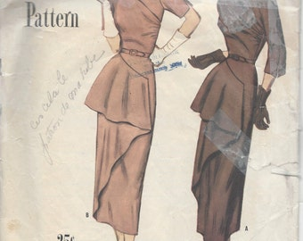 1949 Vintage Sewing Pattern B32 DRESS (R888) Simplicity 8131