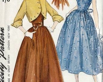 "1950 Vintage Sewing Pattern B34"" DRESS & JACKET (R656) Simplicity 3161"