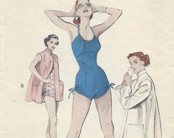 1950s Vintage Sewing Pattern B32 BEACHCOAT & SWIMSUIT (R968) Butterick 6536