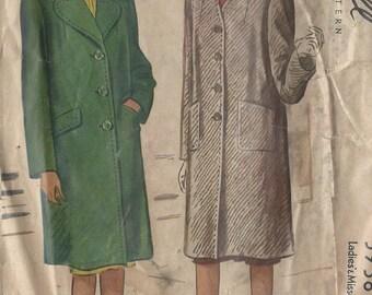 "1945 Vintage Sewing Pattern B32"" COAT (102)  McCall 5938"