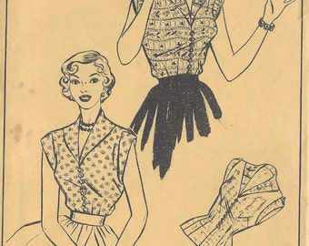 1950s Vintage Sewing Pattern B38 BLOUSE (R995)  Style 545