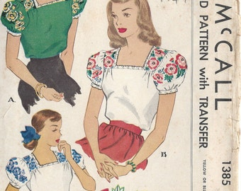 "1947 Vintage Sewing Pattern BLOUSE & TRANSFER B34"" (R268) McCall 1385"