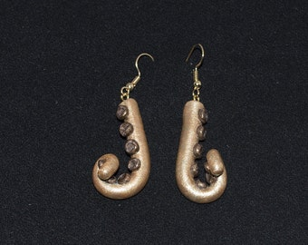 Gold and Bronze Curled Tentacle Earrings