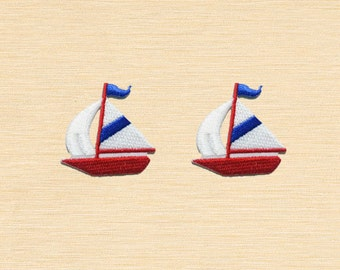 Set of 2 pcs Mini Yawl Sailboat Iron On Patches Sew On Appliques