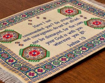 LOGOSPAD Woven Turkish Mini Rug/Carpet Christian Mouse Pad With Bible Verse  Joshua 1: