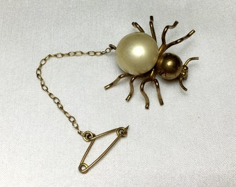 Vintage Faux Pearl Spider Brooch with Safety Chain