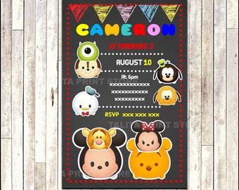 Tsum Tsum Chalkboard Invitation, printable Tsum Tsum party Invitation, Chalkboard Tsum Tsum Invitation - Digital File