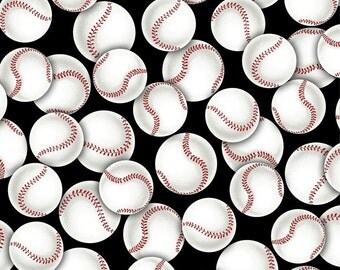 Baseballs Anti-Pill Fleece Fabric by the yard/sports fleece fabric /David Textiles/Free shipping available/boys fabric