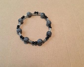 Black & Silver Beaded Bracelet