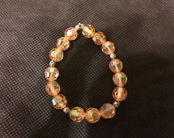 Tangerine Crystal Beaded Bracelet