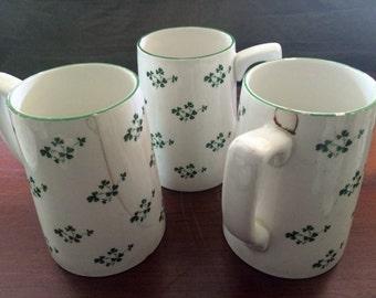 Carrigaline Pottery Co. Ltd, Cork Ireland, Vintage Set of Three 16 oz Beer Mugs, Large Coffee Mugs, Shamrocks
