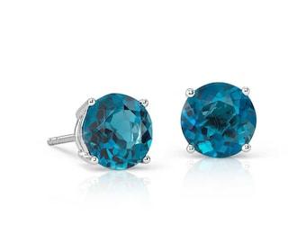 6mm London Blue Topaz Stud Earrings 925 Sterling Silver Faceted London Blue Topaz Earrings Gemstone Beautiful Post Earrings Gift For Her