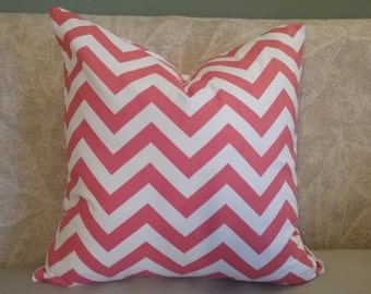 Salmon chevron pillow cover, chevron, salmon chevron, salmon & off-white, pillow cover, decorative pillow, pillowcase, accent pillow