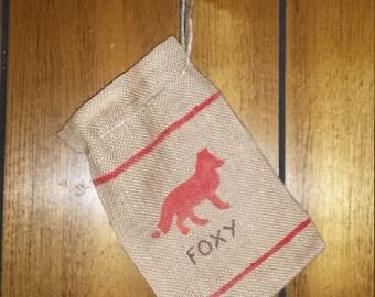 Fox toy bag, fox bag, foxy bag, small toy bag, small travel bag, small hand bag, Rustic country bag, hand painted bag, burlap bag