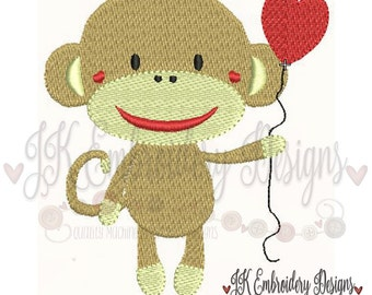 Cute Sock Monkey 1 Machine Embroidery Design, Filled stitch embroidery design for 4x4 hoop