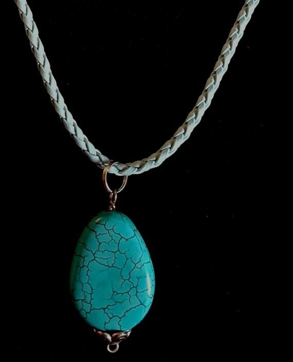 Turquoise Stone Pendant / Stone Pendant / Natural Stone Pendant / Hanging Pendant / Womans Pendant / Ladies Jewelry/ NP61073