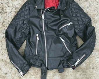 Motorcycle jacket men's small quilted thick stitched vintage classic punk rock and roll 80's zip padded lining