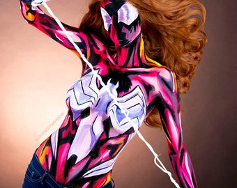 Ultimate Spider Woman Bodypaint 8.5x11 Print