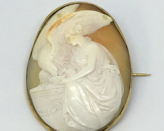 "1880's Victorian 14Kt ""Hebe feeding the Eagle of Zeus"" Shell Cameo"
