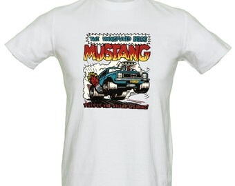 Mustang Muscle Car T Shirt Comic Vintage Design Genuine Retro 70's Transfer