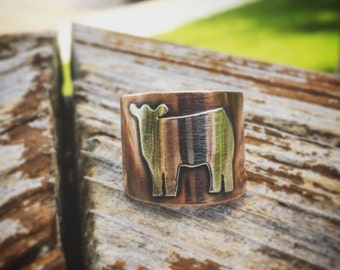 Copper and Sterling Silver Show Heifer Rings