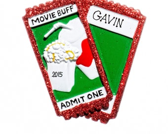 Movie Buff Movie Lover Tickets Personalized Ornament-Comes with Free Gift Bag