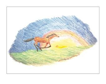 Notecards - Horse, Prairie Sunrise (set of 10, with white envelopes)