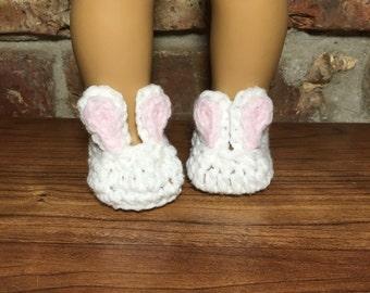 Cute Bunny Slippers for 18 inch dolls - Crochet Bunny Slippers - Doll Slippers