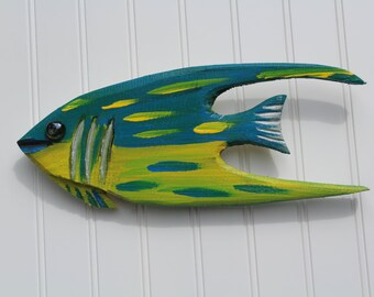 Teal and yellow Hand carved Angelfish beach decor