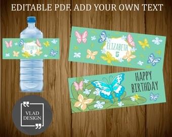Editable PDF Happy birthday water bottle label Party water bottle wrapper DYI Printable wrapper Butterfly Custom water bottle label