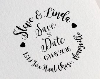 Custom Save the Date Stamp, Custom Name and Date Stamp, Wedding Stamp with a Heart, RSVP Stamp, Invitation Stamp, DIY Wedding Stamp Z32