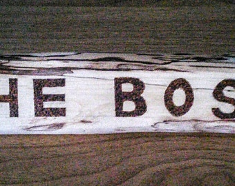 Rustic name stand. Wood burned personalised name place.