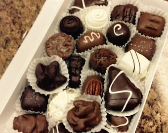 One and a half lb. chocolates, gourmet chocolates, milk chocolate, dark chocolate, turtles, toffee, caramels, marzipan, creams, nut clusters