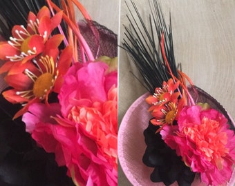 Orange pink and black millinery, orange fascinator, pink fascinator, millinery, spring racing, spring carnival, headpiece