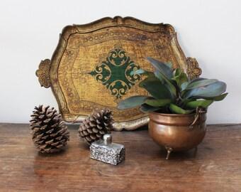 Vintage Italian wood tea tray