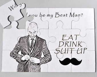 Will You Be My Best Man, Best Man Invitation, Best Man puzzle, Ask Best Man, Best Man card, Be my Groomsman, Ask Groomsman, Puzzle Invite