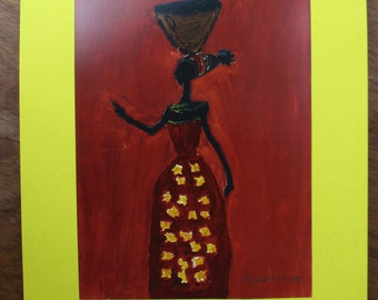 Woman carrying corn meal (print) by Shukuru