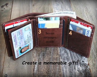 Father's Day - Trifold Mens Wallet - Father's Gift - Personalized Mens Wallet - RFID Wallet - Gift for Dad -Leather Mens Wallet -Toffee 7133