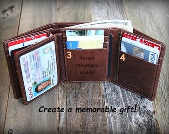 Personalized Mens Wallet - Trifold Mens Wallet - Leather Wallet - Father's Gift - RFID Wallet - Gift for Dad - Leather Mens Wallet -Tof 7133