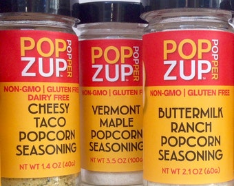 3 Award Winning Popzup Popcorn Seasonings - CLEAN LABEL- NO Fillers, Flavor Extenders, Chemicals  -Delicious on Popcorn & More!