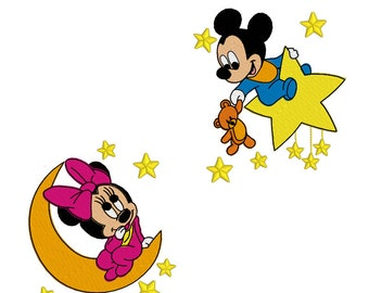 Machine Embroidery Designs - Baby Mickey and Minnie (2 in 1)