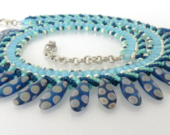 Travel Jewelry Bead  Necklace, Ocean blue, Sterling Chain and Clasp