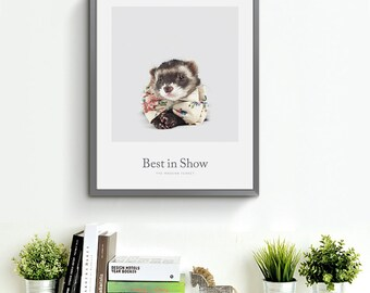 ferret print pole cat in bow tie college dorm posterphotography animal - Small Animal Pictures To Print