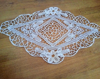Tradional hand made tablecolth from cream white cotton, romanian doily