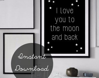 I love you to the moon and back wall print, art, love, valentines, couple, family, nursery, stars,