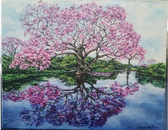 Albero di ciliegio in fiore che riflette in un dipinto for Albero ciliegio
