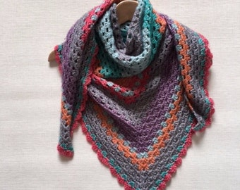 Crochet Triangle Scarf, Triangle Shawl, Handmade Wrap Shawl