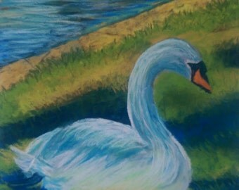 Original pastel art Swan submitted to exhibition
